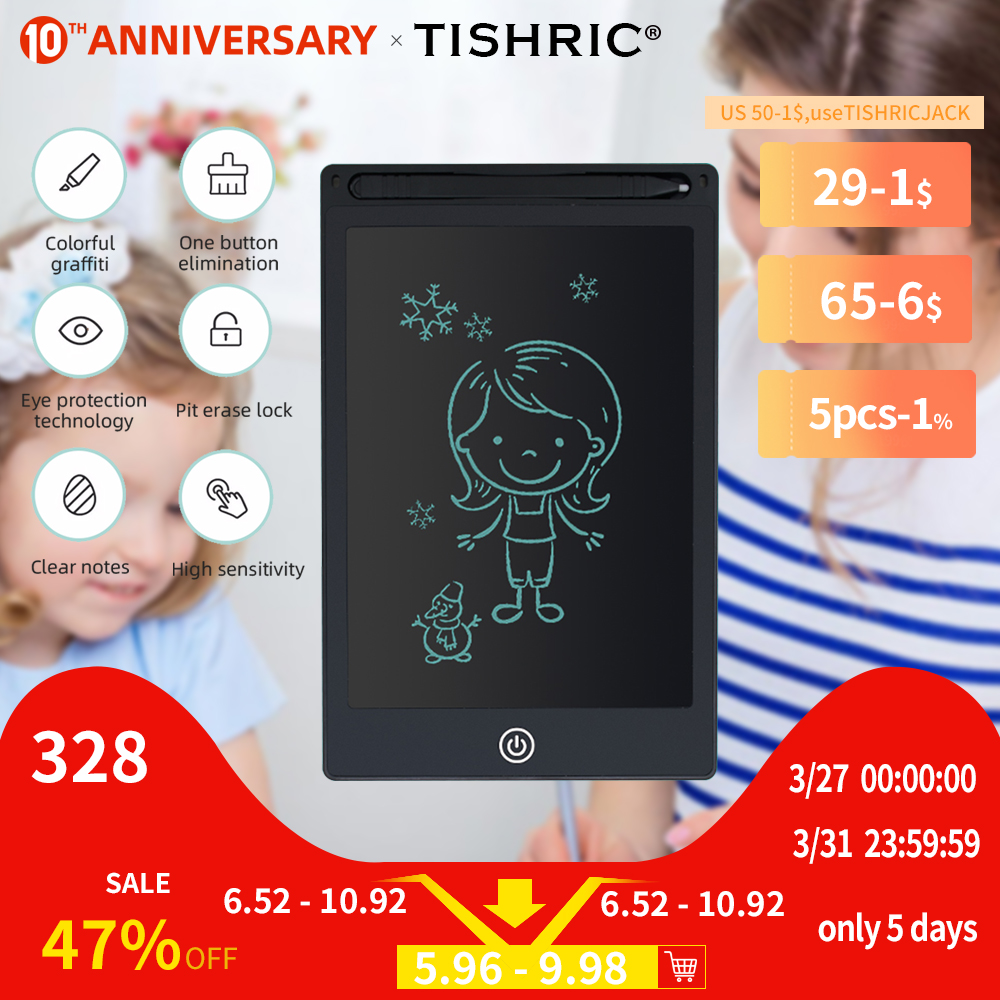 TISHRIC New 8.5/10/12 Inch Digital Drawing/Writing/Graphics Tablet Pen Lcd Handwriting Pad Board Eraser With Stylus Toy for Kids