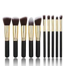 10 make-up brush,5 big 5 small brush, black silver mini-piece, five ten-way brush set