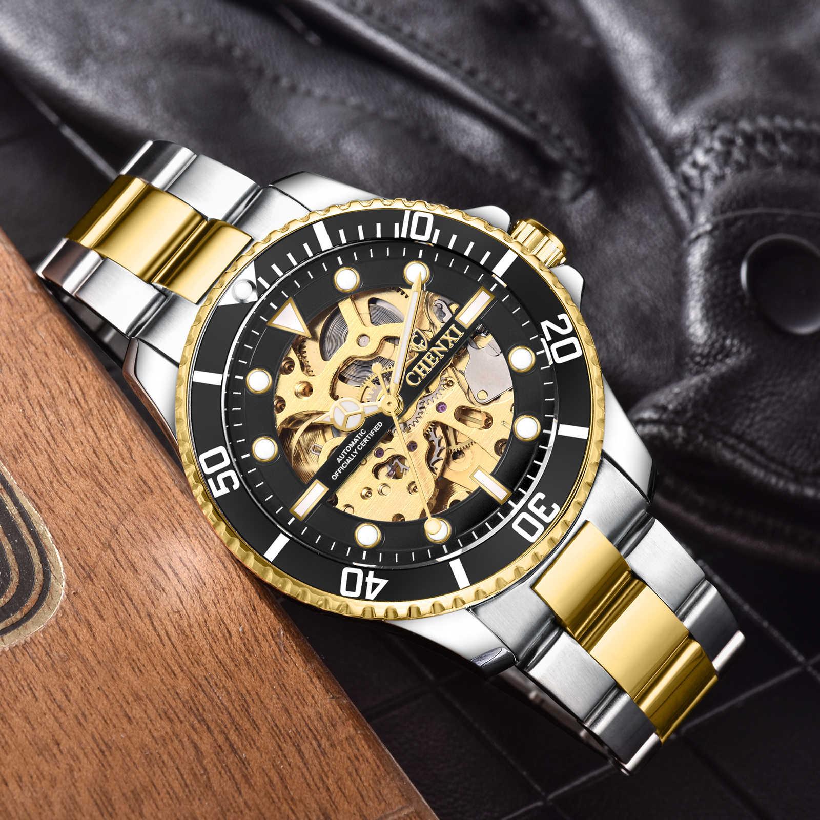 Relojes de Acero inoxidable y oro para hombres, relojes mecánicos automáticos de moda, relojes de manos luminosos para hombres, relojes impermeables de 30M