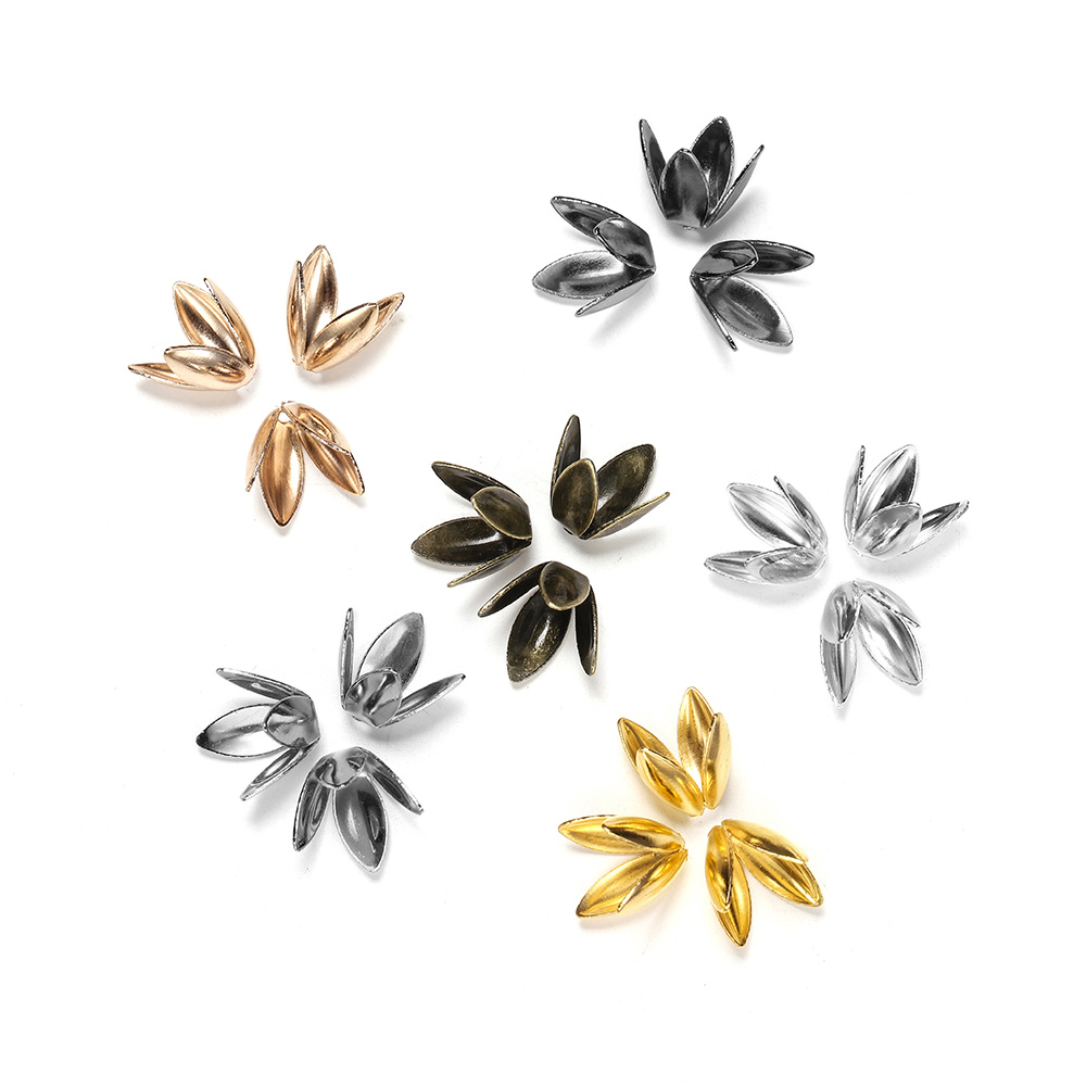100pcs/lot Bulk Metal Silver Gold Plated Flower  Loose Sparer Apart End Bead Caps For Jewelry Making Bracelet Findings Supplies