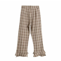 Lotus leaf edge nine point grid black casual pants high waist straight tube pants plaid harajuku checkerboard wide leg kawaii