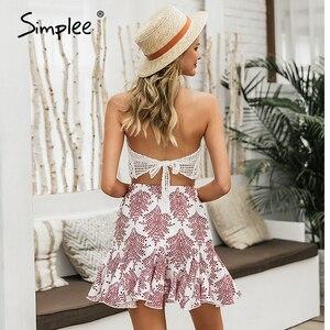 Image 4 - Simplee décontracté imprimé fleuri femmes mini jupe à lacets a ligne à volants femme jupes courtes printemps été dames vacances jupes 2020