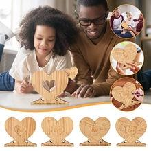 Diy personalizado amor coração quebra-cabeça listagem de madeira ornamento de madeira personalizado nome da família dia dos pais lista en bois ornamentos en boi