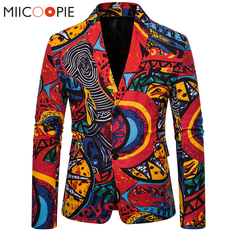 Abstract Printed Floral Brazer Men 2020 New Linen Slim Party Single Breasted Mens Suit Jacket Blazers Coat Veste Costume Homme