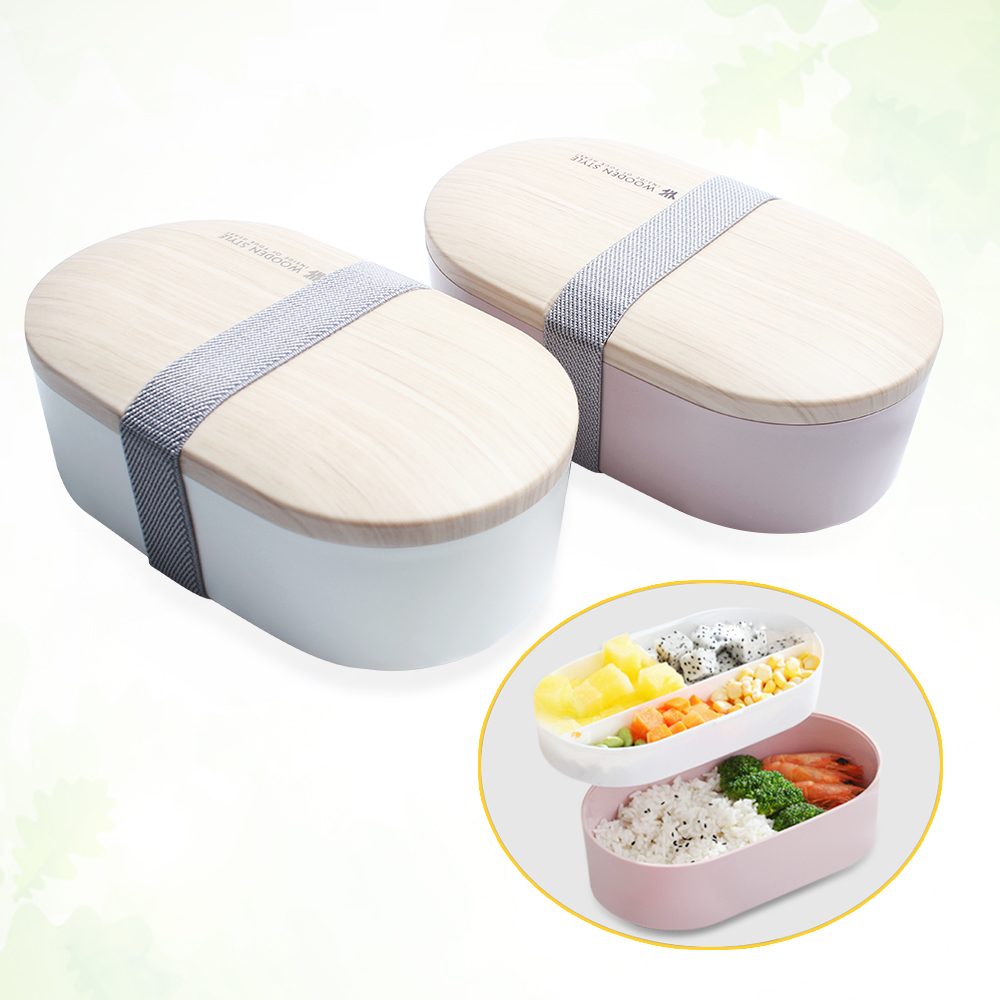 2-layer Japanese Microwavable <font><b>Lunch</b></font> Boxes <font><b>Wood</b></font> Bento <font><b>Box</b></font> for Kids Porta Comida Children Fruit Snack Case Portable Food Container image