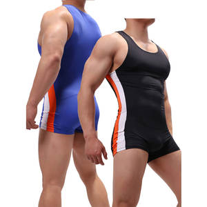 Bodysuits Underwear Boxers Leotard Wrestling Singlet Sexy One-Piece Men's U-Convex-Pouch