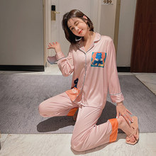 2021 new ladies pajamas spring autumn ice silk cartoon long-sleeved Women's home clothes casual thin two-piece Sleepwear sets