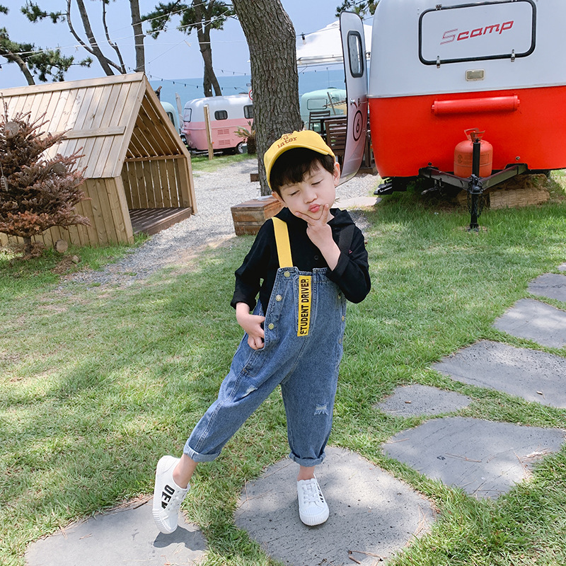 Boys denim bib children 2019 spring and autumn new casual pants boy foreign jeans