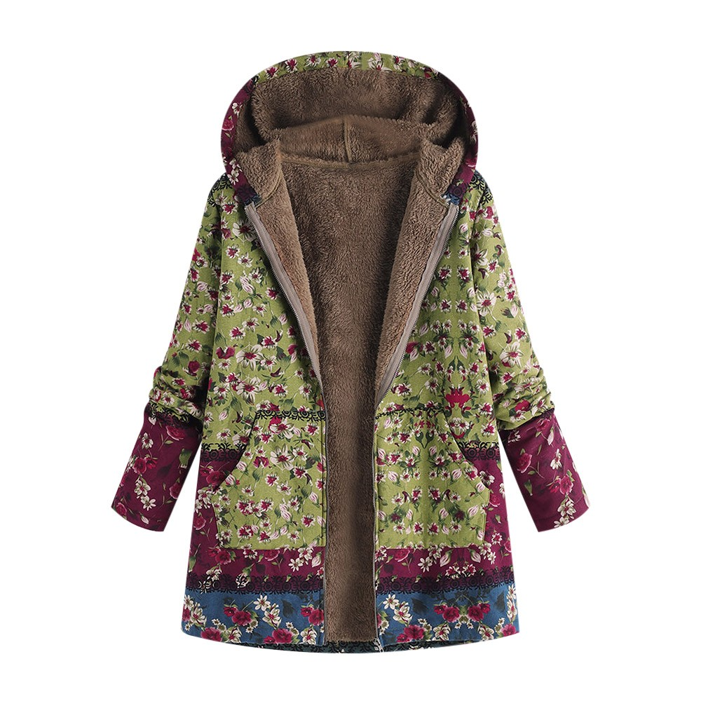H52f18c9df4894f17a68751998d3e8210o Female trench coat women's windbreaker тренч ropa Winter Warm Outwear Floral Print Hooded Pockets Vintage Oversize Coats h4