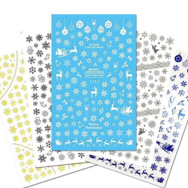 1 Copriletto Di Neve di Natale Del Fiore Del Merletto Unghie Artistiche Decalcomanie Consigli Strumento 3D AVVOLGE Timbro Fai Da Te Manicure Decorazione Cursore JIF281 284