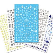 1 feuille noël neige fleur dentelle Nail Art autocollant autocollants conseils outil 3D enveloppes timbre bricolage manucure curseur décoration JIF281 284