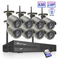 Techage 8CH 1080P NVR Sans Fil Système de Caméra de VIDÉOSURVEILLANCE IP 8 pièces 2MP Enregistrement Audio Wifi Extérieure IR Surveillance Kit De Sécurité HDD de 2 TO