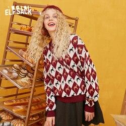 ELFSACK с принтом единорога, винтажный свитер для женщин, вязанная верхняя одежда, осень 2019, корейская мода, милые женские свитера