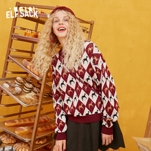 ELFSACK Unicorn Print Vintage Sweater Women Knitted Top Clothes 2019 Autumn Korean Fashion Cute Ladies Sweaters