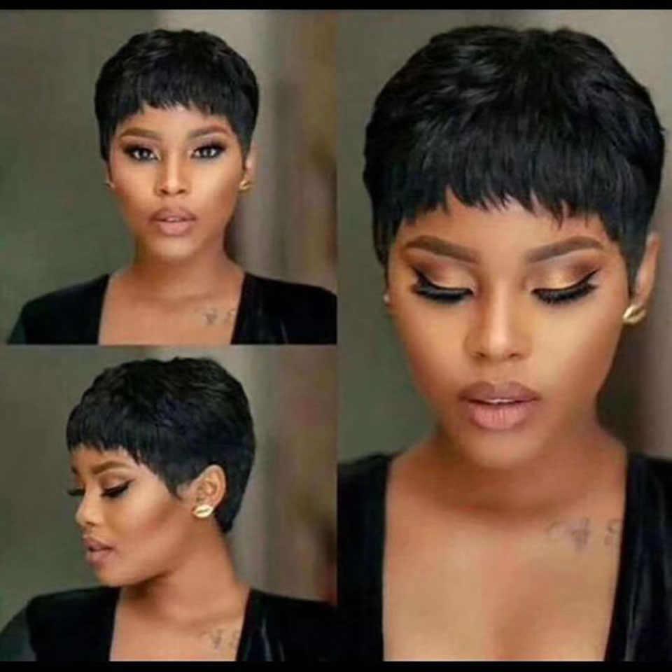 Vrvogue peri kesim peruk doğal bukleler kısa peruk perulu peruk doğal renk 130% yoğunluk siyah kadınlar için insan saçı peruk