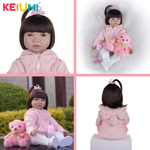KEIUMI New Arrival 24 Inch Pillow Reborn Bebe Dolls Style Soft Silicone Reborn Babies Doll Children's Day Birthday DIY Gifts(China)