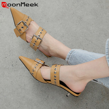 MoonMeek 2020 top quality genuine leather shoes women pumps buckle pointed toe summer thin heels fashion casual shoes woman