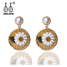 DREJEW Cute Yellow White Crystal Flower Statement Earrings 2019  Fashion 925 Alloy Drop for Women Wedding Jewelry HE536