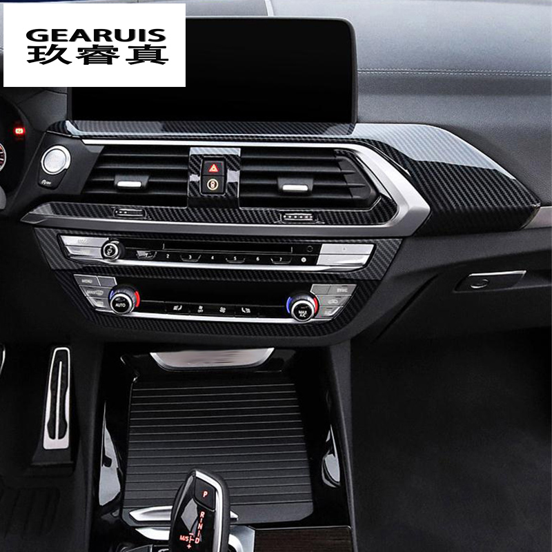 Car Styling interior Buttons panel frame Decoration Car Covers Stickers Trim for <font><b>BMW</b></font> <font><b>X3</b></font> X4 <font><b>G01</b></font> G02 <font><b>Carbon</b></font> fiber Auto Accessories image