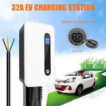 32A evreli Wallbox EV araba şarjı elektrikli araç şarj istasyonu duvara monte IP66 tip 2 kablo IEC 62196 2 seviye 2 240V 7.6KW