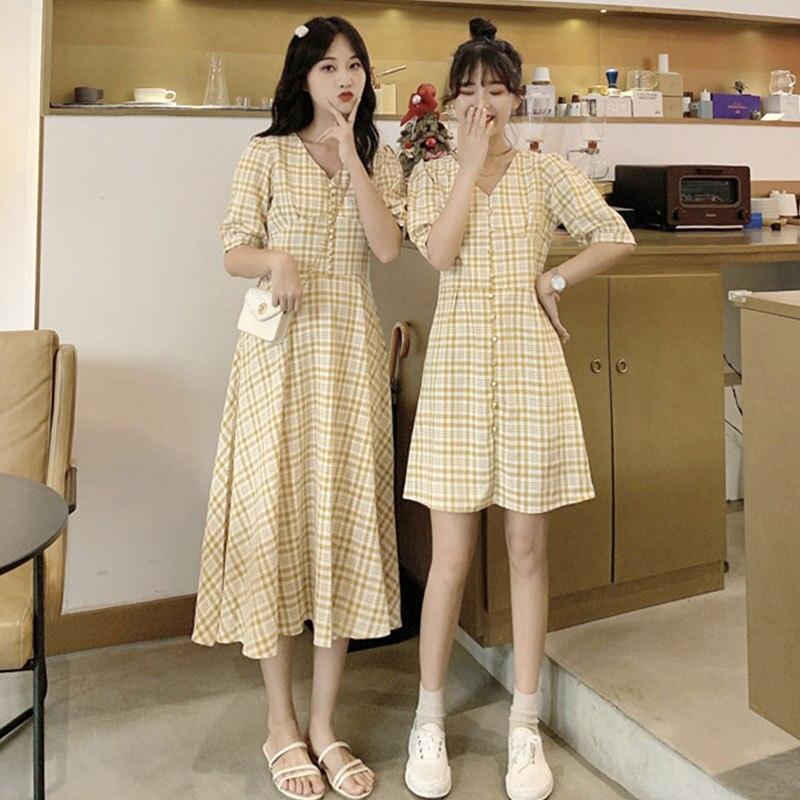 Different Best Friend-2019 New Style Set Retro Non-mainstream Plaid Elegant Dress Summer Two-Piece Women's