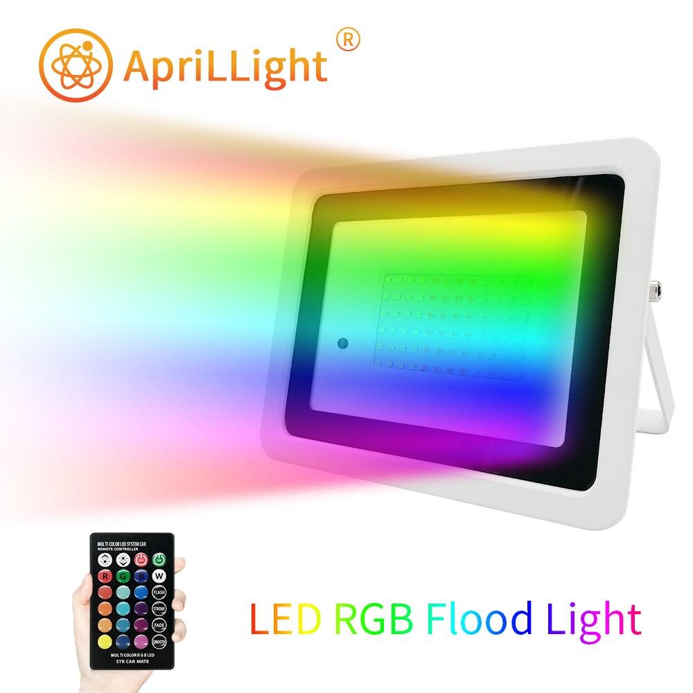 Hot selling Led RGB Flood Light 20W 30W 50W 100W RGB Reflector Spotlight IP68 Waterproof Wall Washer Light 110V 220V Garden Lamp