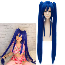 Wendy Marvell Cosplay Parrucca 2018 Fairy Tail Final Serie TV Anime Blu Lungo Rettilineo Trecce di Capelli Sintetici(China)