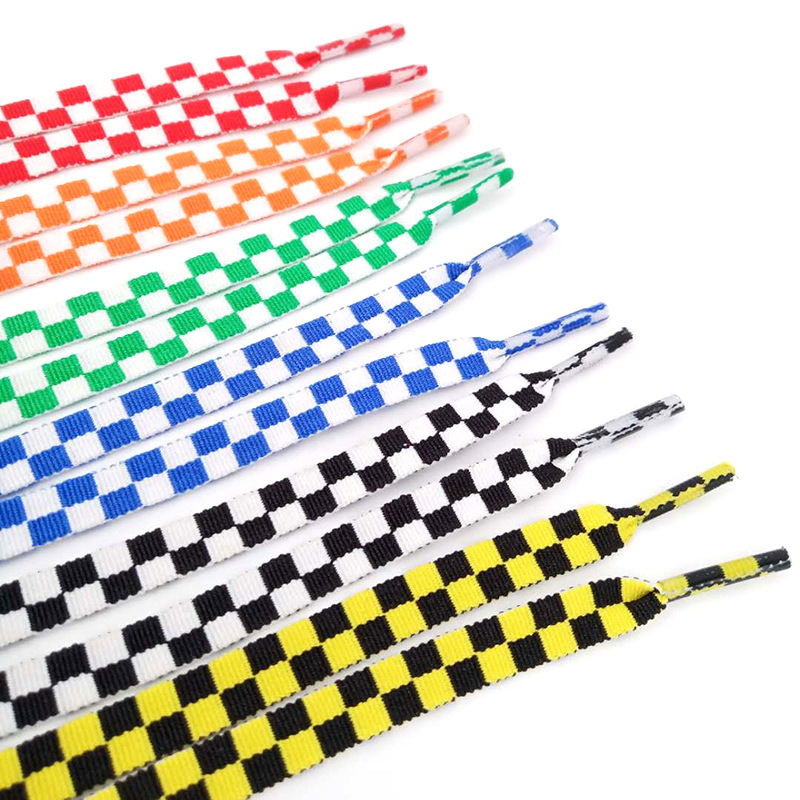 Flat Colorful Mosaic Grid Shoe Lace Sublimated Printing Polyester Checkered Ribbons Shoelaces Heavy Duty Sneaker Lacing