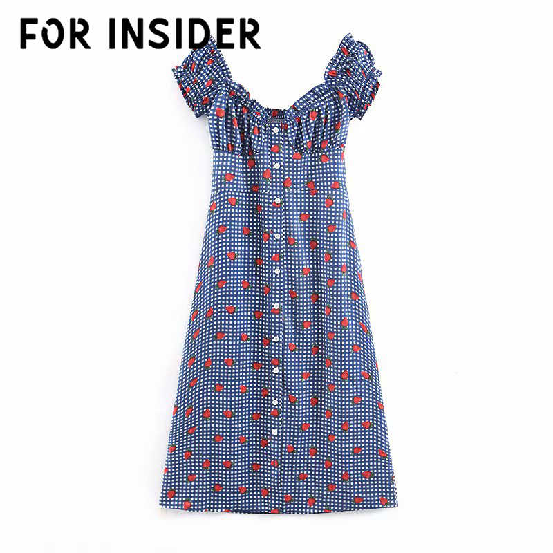 Для Insider богемное винтажное клетчатое длинное платье с принтом женское летнее пляжное платье с коротким рукавом повседневное тонкое сексуальное платье миди из шифона