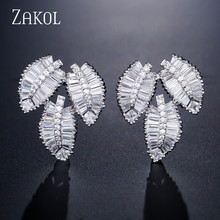 ZAKOL Fashion AAA Cubic Zirconia T Stone Stud Earrings for Women Luxury Leaf Bridal Jewelry Accessories FSEP2113
