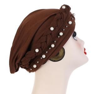 Image 2 - Nieuwe Vrouwen Elastische Tulband Hoeden Moslim Kralen Kanker Chemo Cap Head Wrap Cover Sjaal Stretch Beanie Bonnet Indische Chemo Haar verlies