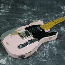 New Product 100% Handmade Relic TL Electric Guitar R-TY32 Brass Saddles Brige Aged Hardware Pink Color