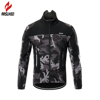 ARSUXEO Thermal Fleece Warm Cycling Jacket Winter Windproof Outdoor Sports Windbreaker MTB Bicycle Bike Jacket Cycling Clothing arsuxeo men s cycling jacket winter thermal fleece warm up mtb bike jacket wind bicycle clothing windproof outdoor sports coat