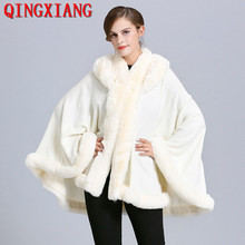 2019 Sample Women Party Overcoat Cloak Winter Faux Fox Fur Knitted Cardigan Cape Cashmere Long Sleeve White Poncho With Hat