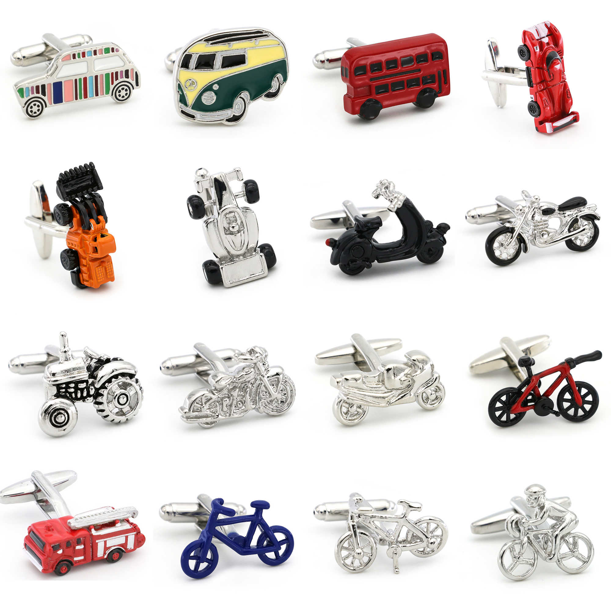 28 Styles Option New Arrival Men's Fashion Cufflinks Red Color Novelty Fire Engine Design Cuff Links Wholesale&retail