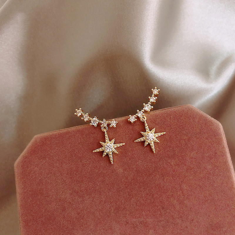 Dominated New 2019 Contracted Delicate Crystal Star Temperament Drop Earrings Women Korean Classic Style Small Earrings Fashion