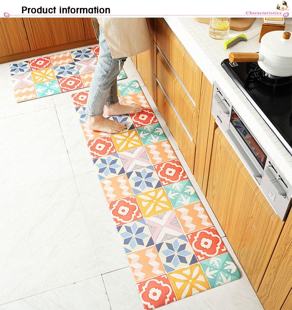 PVC Oil proof Kitchen Carpets Long Size Floor Mat Marbling Pattern ...