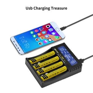 Image 5 - Htrc 4 slots carregador de bateria li ion li fe ni mh ni cd lcd carregador rápido inteligente para 26650 6f22 9v aa aaa 16340 14500 18650 bateria