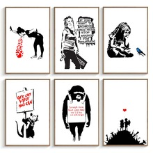 Banksy Graffiti Art Pictures Abstract Canvas Painting Black White Wall Art Posters and Prints Modern Living Room Home Decor