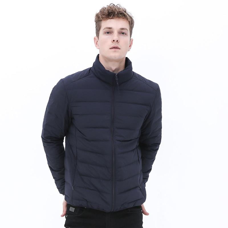 Man Stand-up Collar Puffer Jacket Soft Matt Waterproof Fabric Down Jackets Seamless Winter Autumn Warm Down Outerwear Coat
