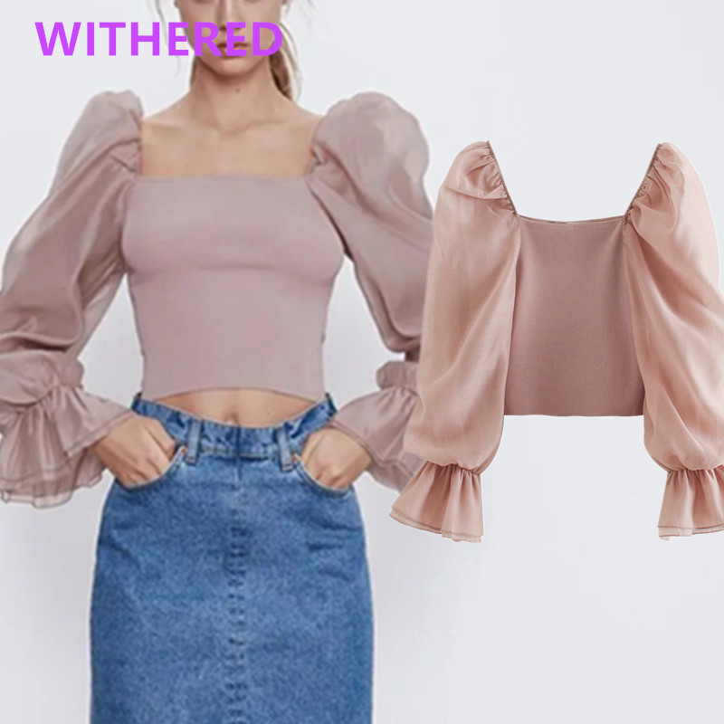 Withered England High Street Vintage Gauze Splicing Knitting Puff Sleeve Sweaters Women Pull Femme Sweaters Women Pullovers Tops