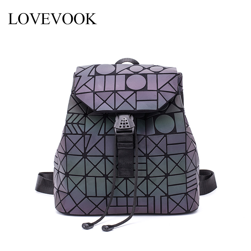 Women Backpack School-Bag Teenagers Girls LOVEVOOK No for Mini Foldable Geometric Holographic-Refretion