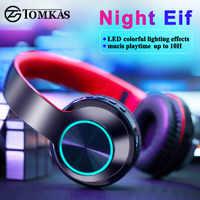 Tomkas led luz bluetooth fones de ouvido sem fio estéreo dobrável fones de ouvido ajustável com microfone/tf cartão mp3 player
