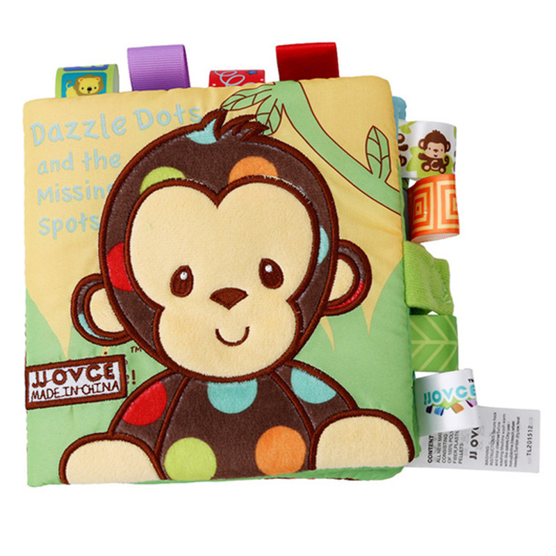 Baby Cloth Book 3D Waterproof Animal Style Monkey/Owl/Dog Cloth Books Soft Fabric Cloth Book Learning Early Educational For Kids