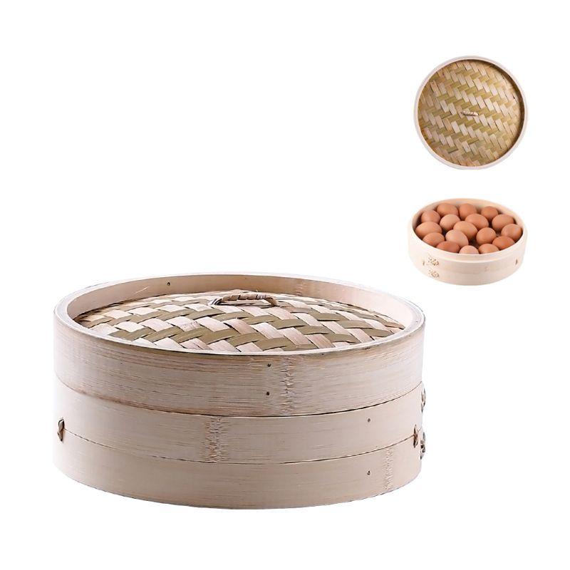 11 Inch Itchen Bamboo Steamer Basket Asian Food Steamer For Dim Sum Dumplings