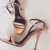 Padlock Women Gladiator Sandals Ankle Strap Metal Decoration Women Pumps Open Toe Gold Metal Heels Banquet Dress Shoes Plus Size