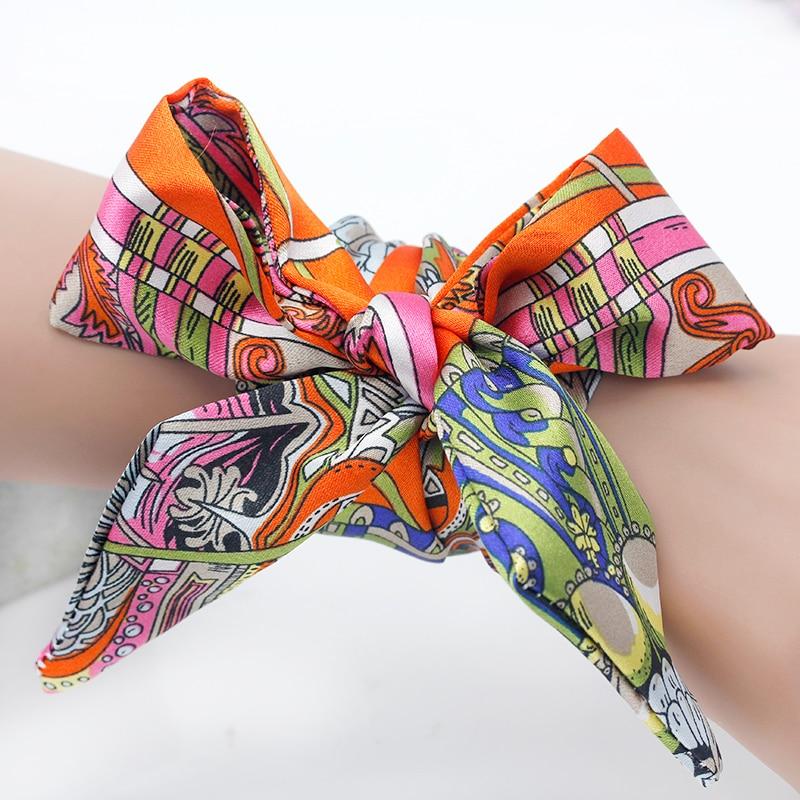 Shsby Ladies Flower Cloth Watch Bands Women Silk Scarf Girls Headwear Bag Decoration Ribbon Bracelet  Handle For Handbag  NO 3