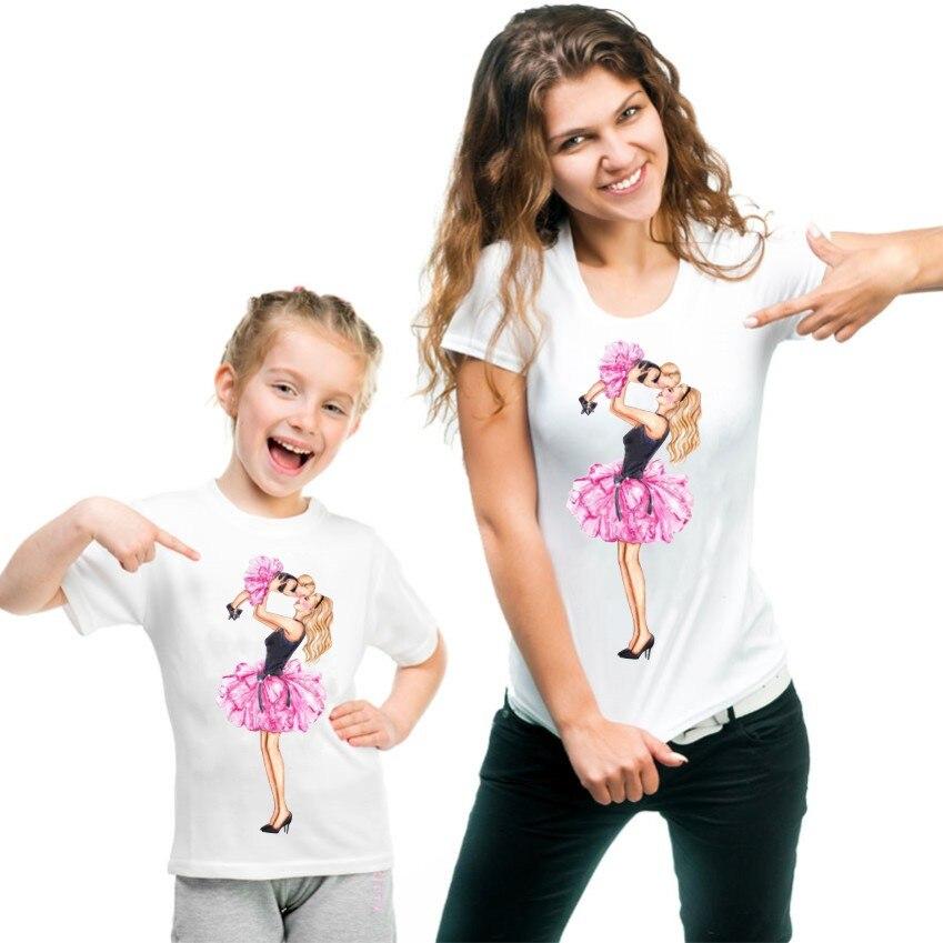 Новая семейная футболка с принтом Одежда «Мама и я» Семейные комплекты с короткими рукавами QT-1924 - Цвет: Слоновая кость