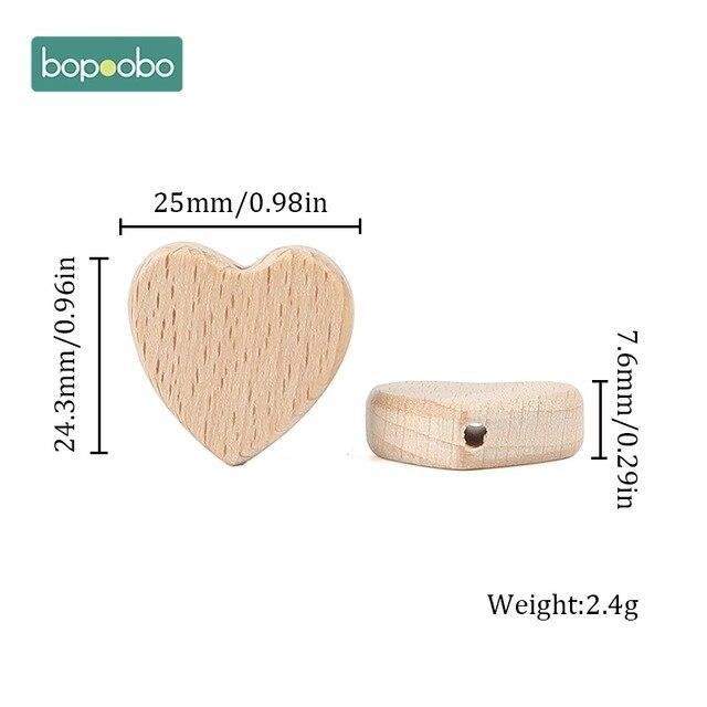 Bopoobo 50pc Baby Teething Beads Wooden Teether Beech Wooden Beads Teether Chewable Star Shape Beech Beads BPA Free Wood Bead