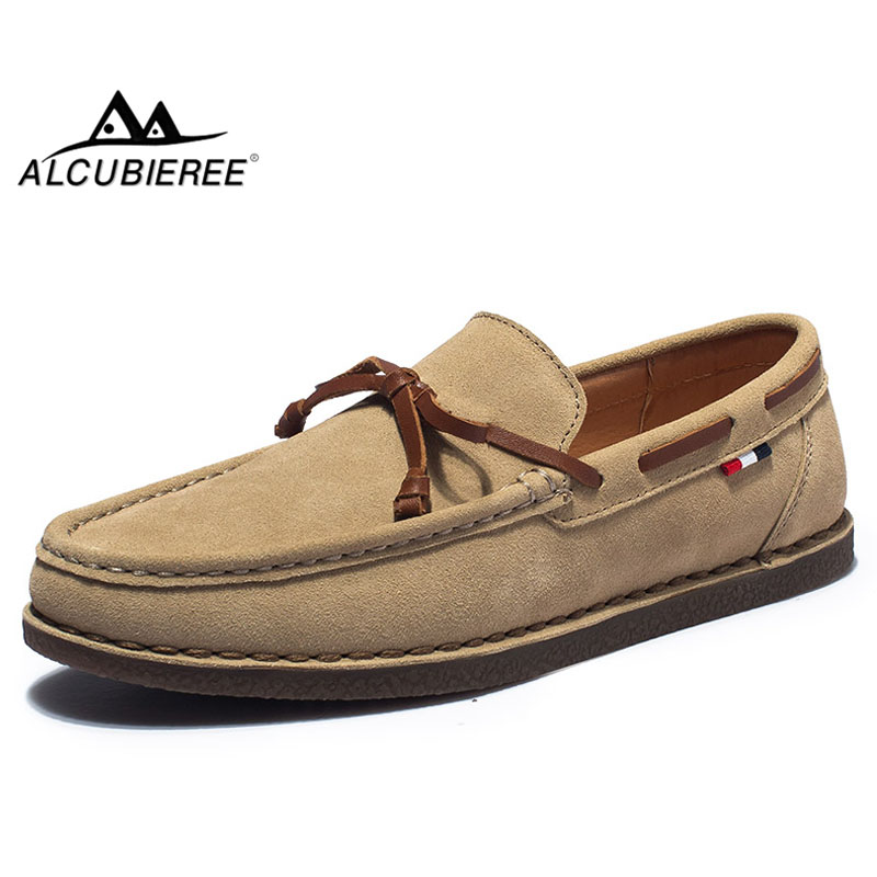 ALCUBIEREE Autumn Mens Flats Boat Shoes Stylish Tassel Daily Loafers Comfortable Cow Suede Moccasins Male Casual Walk Footwear